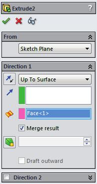 Select a Vertex Up To Vertex Condition E Using the Up To Surface option: Select a
