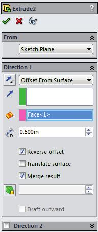 Select a surface to offset from & enter a distance.