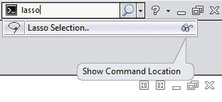 1. Search Commands in Feature Mode: - The example below shows how you might use Search Commands to find and run the Lasso Selection command in the Feature Mode.