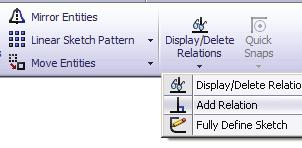 5. Adding Geometric Relations*: - Click Add Relation under Display/Delete Relations - OR - select Tools / Relations / Add. - Select the 4 lines shown below.