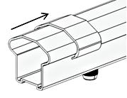 Slide bottom brackets (E) with screw holes down and counter bore holes facing toward the balusters, over each end of the bottom rail (B). 6.