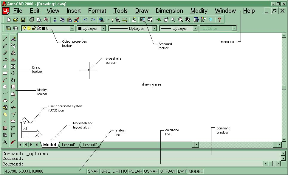 Understanding the Graphical User Interface When you start AutoCAD, the AutoCAD window opens. The window is your design work space.