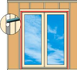 22 Seal Interior Seams with Low Expansion Foam Using Low Expanding Foam made for windows and doors, apply around the perimeter of the door, between the edges of the door frame and the wall framing.