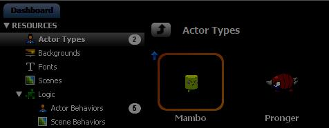 "Note: You'll see a small number ""2"" next to the button. That number indicates the total number of actors in your game."