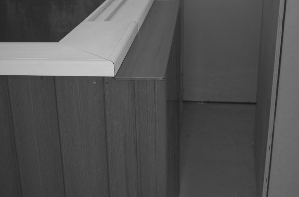 Again, make sure that this piece of skirting is 1 away from the corner of the wood framing.