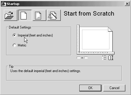 4-20 Principles and Practice 2. In the Startup dialog box, select the Start from Scratch option with a single click of the left-mouse-button. Metric 3.