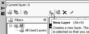 Orthographic Views and Multiview Constructions 4-21 Layers Setup 1. Pick Layer Properties Manager in the Layers toolbar. 2.