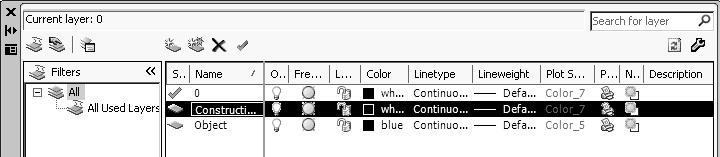 Create two new layers with the following settings: Layer Color Linetype Construction White Continuous Object Blue Continuous 4.