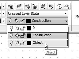 4-24 Principles and Practice Set Layer Object as the Current Layer 1. On the Layers toolbar panel, choose the Layer Control box with the left-mousebutton. 2.