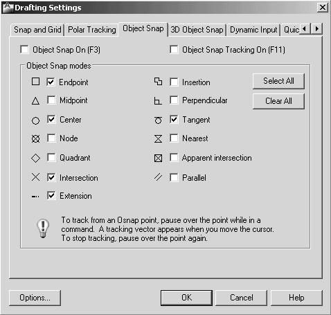 Orthographic Views and Multiview Constructions 4-25 2. In the Drafting Settings dialog box select the Object Snap tab.