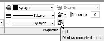 In the Properties toolbar, click on the List icon to activate the command. Note the information regarding the selected object is displayed in the AutoCAD Text Window as shown.