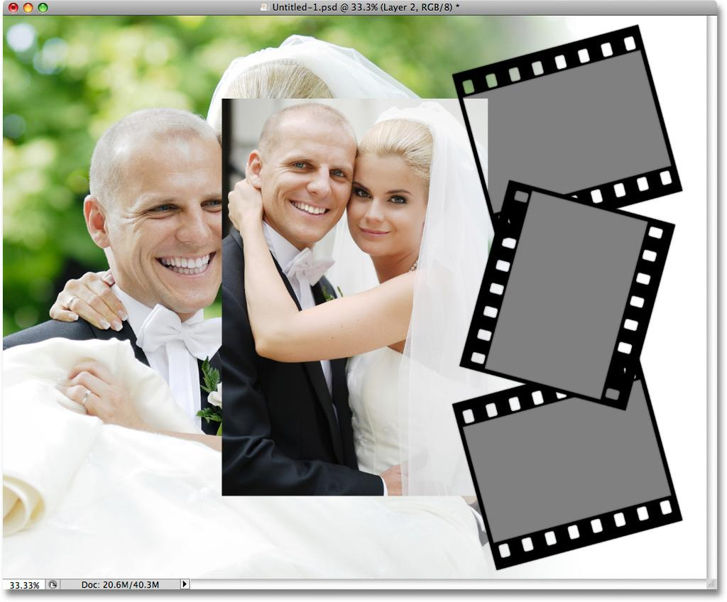 Step 26: Paste The Image Into The Film Strip With the photo layer selected, press Ctrl+V (Win) / Command+V (Mac) to paste the photo into the film strip.