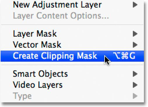 Step 28: Create A Clipping Mask Once you have the photo moved into position, go up to the Layer menu at the top of the screen and choose Create Clipping Mask, or press Ctrl+Alt+G (Win) /