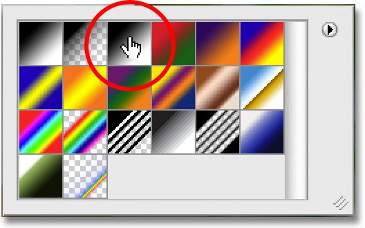Step 7: Choose The Black to White Gradient With the Gradient Tool selected, right-click (Win) / Control-click (Mac) anywhere inside the document to quickly bring up the Gradient Picker, then click on
