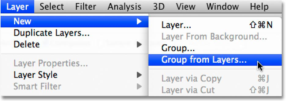 With both layers selected, go up to the Layer menu at the top of the screen, choose New, and then choose Group from Layers: Go to Layer >