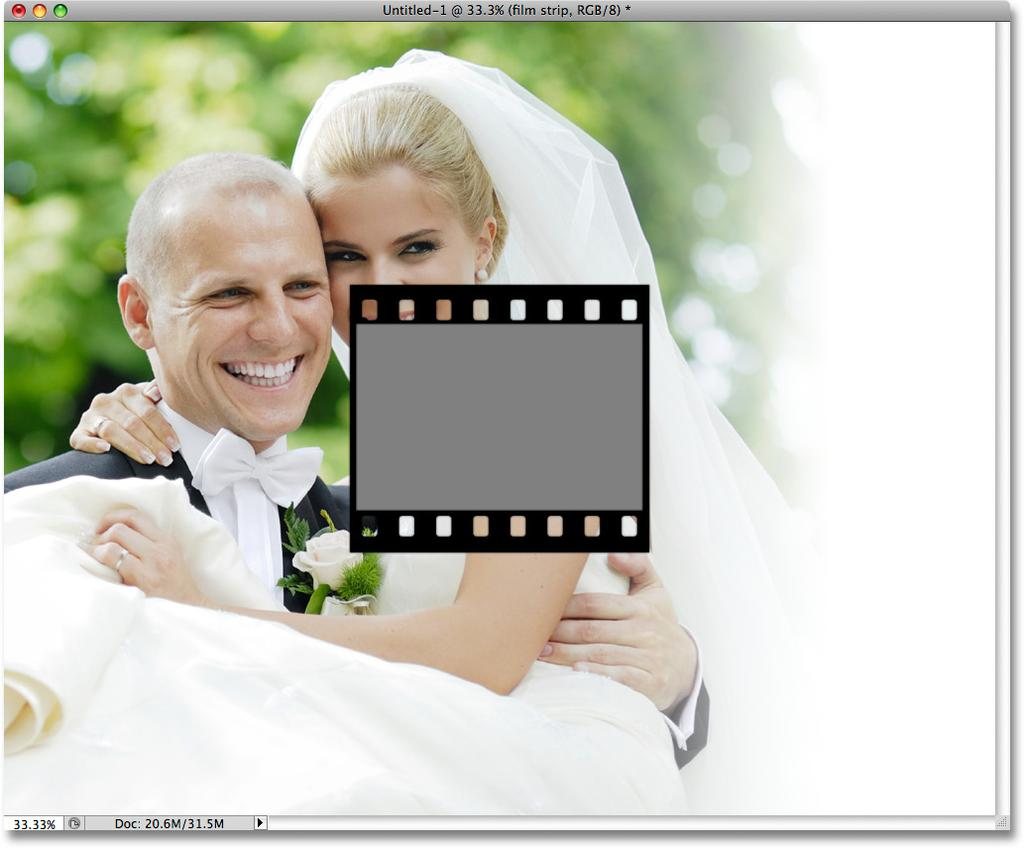 the photo collage document window: Drag the film strip layer group into the photo collage document.