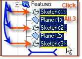 have selected appear under Sketch/Face A selection box for each will appear under Maintain
