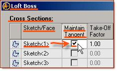 So - we will now edit the Tangent and Take-Off factors in the loft boss selection popup.