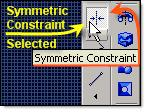 (Pass the mouse slowly over the constraints and a name tip will appear, Symmetric Constraint is 5 th icon from the end of the flyout menu)