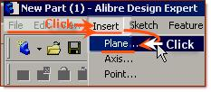 Then, Select from the Main Menu - Insert Click > Plane.