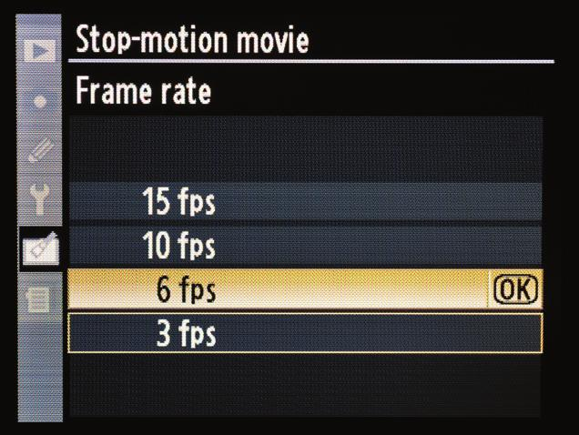 Now move down to Frame rate (D) and select the number of frames you want to use per second (E).