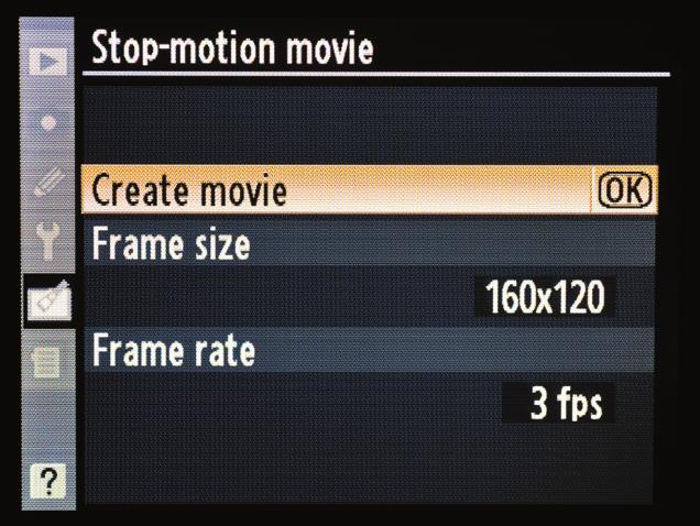 F 5. Now highlight the Create movie option and press the OK button (F). 6. The next screen lets you select the images that will be used to create the video.