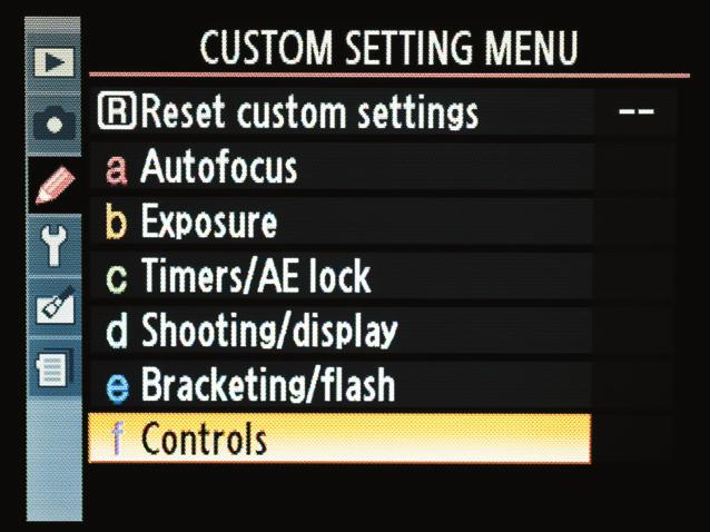 SETTING UP THE AE-L BUTTON A 1. Press the Menu button and then navigate to the custom menu section (A). 2. Locate custom menu F and then press the OK button. 3.