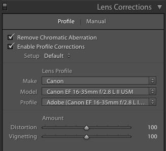 Lens Correction Panel Lens correction corrects for distortions and vignetting in the lens. Remove Chromatic Aberration Enable Profile Correction ON - Always Check this box.