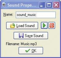 The Sound Properties form allows you to load, preview, and save sound files. Figure 2-31. This sound action loops the background music.