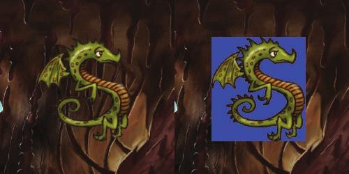 CHAPTER 2 YOUR FIRST GAME: DEVILISHLY EASY 13 Figure 2-5. Here s the dragon sprite with the Transparent option set (left) compared to the same dragon without the Transparent option (right).