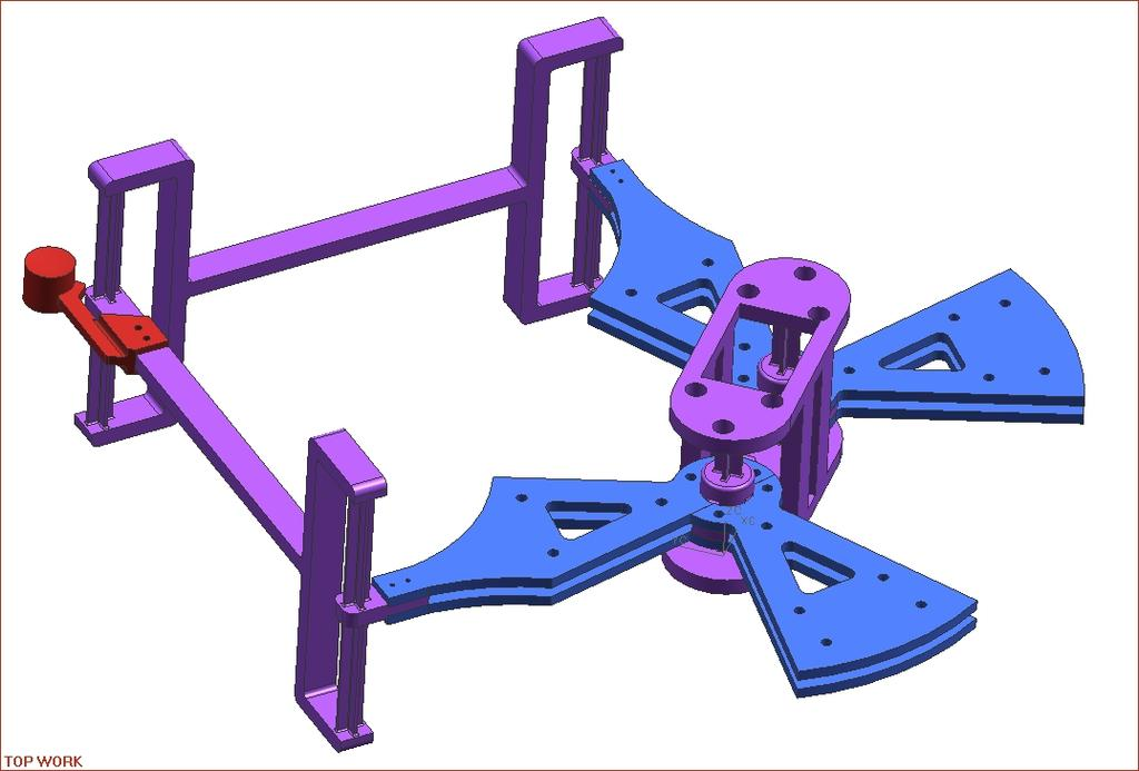 end effector compliant joints modular links opening for fan ground coil housings Figure 5: CAD Model of Current 5-Bar Mechanism with Modular Links and Compliant Joints Much redesign went into the