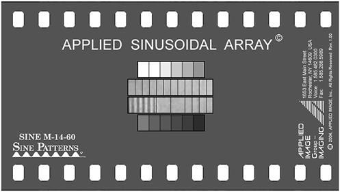 Applied Image Sinusoidal Array SINE M-14 The sinusoidal array description is outlined in Figure 3-2 where the cycles/mm is notated for each of the target sinusoidal patterns. Figure 2-1.
