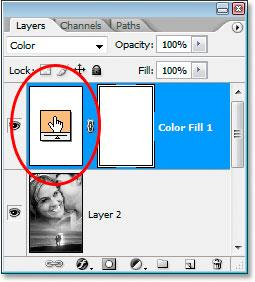Blend Photos: Double-click the color swatch icon in the Layers palette. When you do that, the Color Picker will pop back up and you can choose a different color.