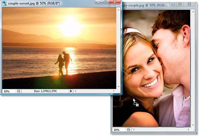 Then with my Move tool selected, I'm going to click anywhere inside the image of the couple walking on the beach to make that document window active, and I'm