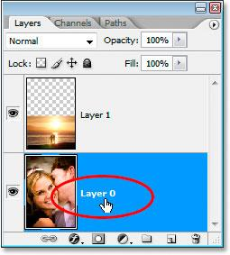 The image is on the Background layer: Blend Photos: The original image on the Background layer.