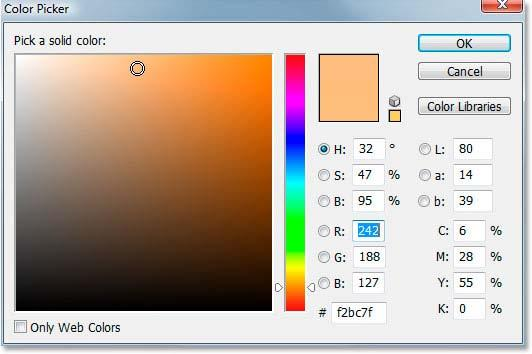 Photoshop's Color Picker will appear. Choose the color that you want to use for your image.