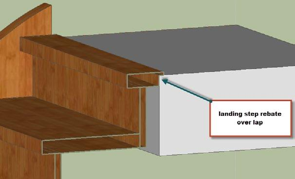 A more elegant way of covering any eventual space is to rebate the landing step.