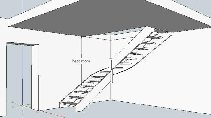 Calculate approximate head room The start of a stair can depend on the position of other obstacles, doors, windows, other walls etc but more often than not, if the stair moves up inside a stairwell,