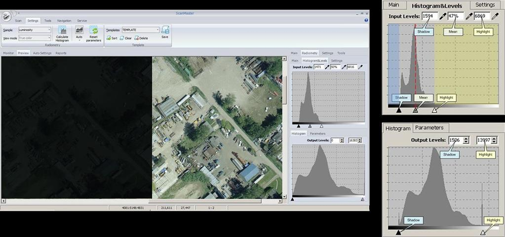Operational Software: Easy Scanning Setup: Histogram analysis - Automatic adjustment processing tools such as AutoLevels and
