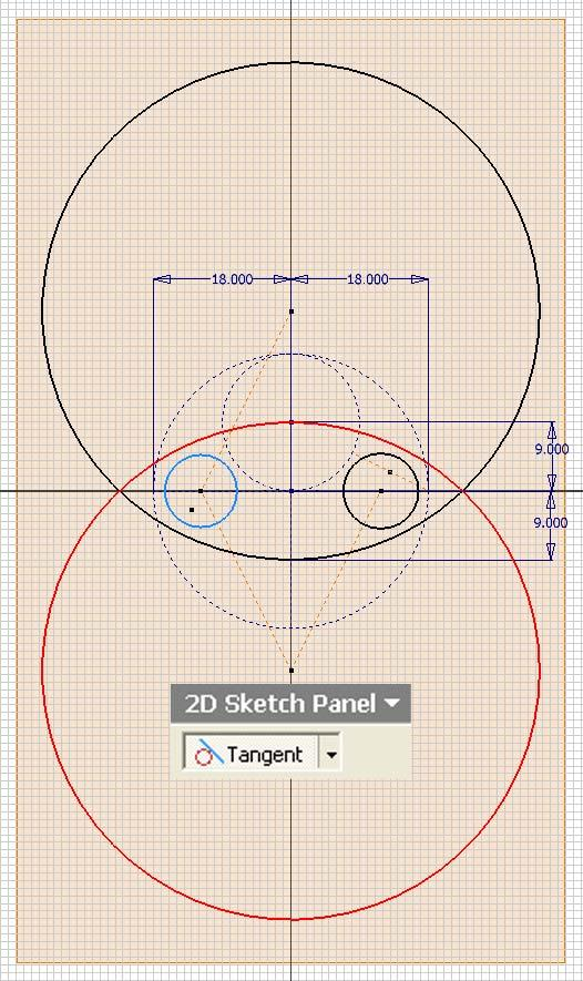 Inventor (10) Module 1H: 1H- 15 Figure 1H-4C: Enlarging the small circle to tangency with the two large circles. Figure 1H-4D: Enlarging the other small circle to tangency with the two large circles.