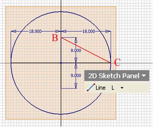 Next, use the Center Point Circle tool to create the small construction circle (Figure 1H-3G) centered at point B (the top endpoint of the top minor radius line) and