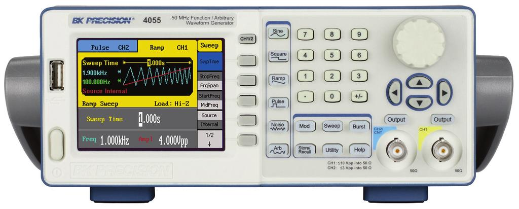 Dual Channel Function/Arbitrary Waveform Generators Front panel USB host port Channel selection button 3.