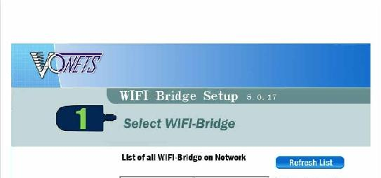 wifi bridge, it will display a list of the wifi bridges it has found. > This information is displayed in two columns.