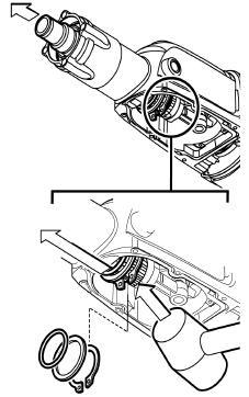 -9-00 d Combined drill/chisel hammer: Removing the spindle Drive out the complete spindle assembly with light taps on rear spindle spline end () with a plastic face hammer.