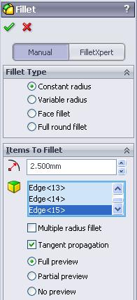 Where to find it Select the Fillet tool from the features toolbar Insert Fillet Select the Fillet option. The fillet options appear in the property manager. Set the Radius value to 2.