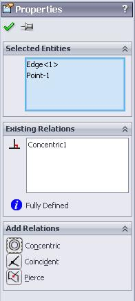 Adding a concentric relation To ensure that the shutter remains in the centre, a relation