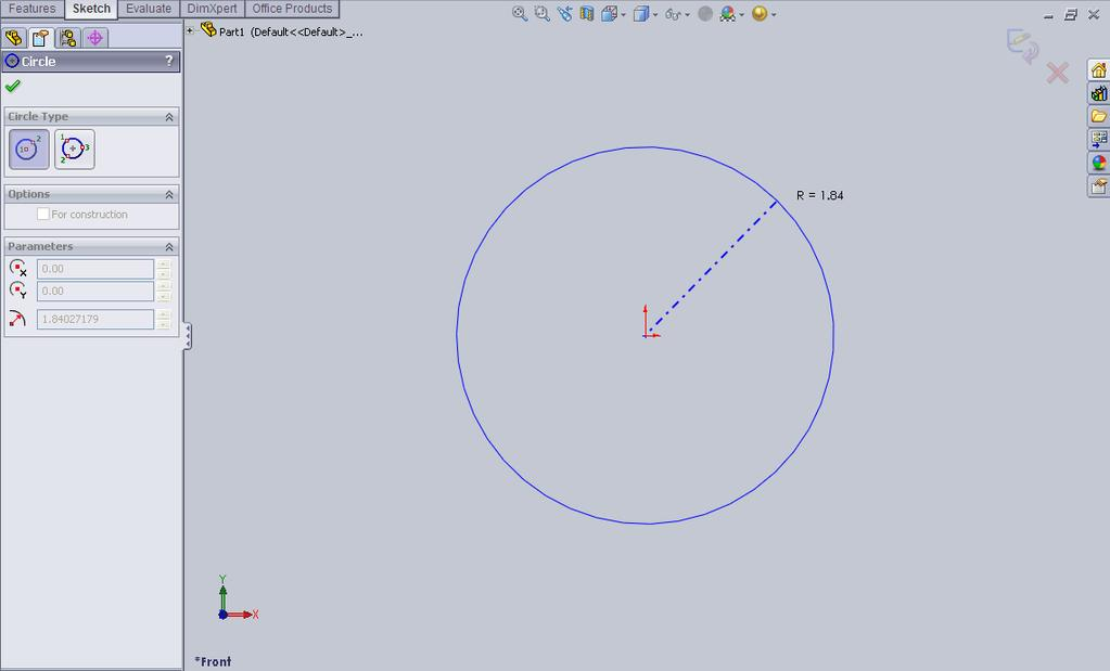 d. Sketch a Circle start by placing your mouse over the Origin Point (where the to red