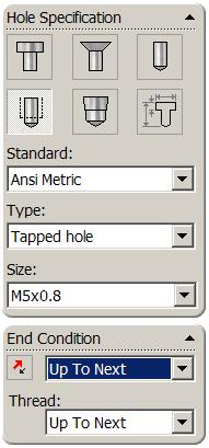 Select Hole Wizard from the features toolbar Set the properties of the hole as follows: Type: Tap Standard: Ansi