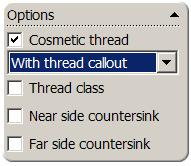 8 End Condition: Up to Next Cosmetic Thread: Yes With thread callout Click the Positions tab Positioning the hole