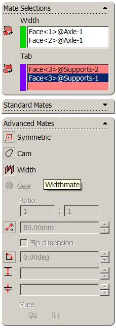 Width Selections form the outer faces used to contain the other component Tab Selections form the inner faces used to locate the other component Adding a Width Mate Choose Mate, and select the